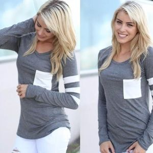Tops - Fun Basic long sleeve tshirt with stripes & pocket